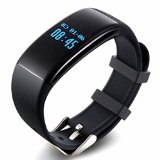 Lincass Fitness Tracker Waterproof Smart Bracelet Heart Rate Monitor Wristband Pedometer Step Walking Distance Calorie Counter Smart Watch Fitness Tracker for iOS Android Smartphone (Black)